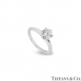 Tiffany & Co. Round Brilliant Cut Diamond Ring 0.99ct I/VVS1